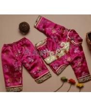 巧之韵 儿童唐装玫红色 女童宝宝唐装 两件套生日童装冬装 唐装礼服