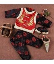 巧之韵 新款三件套绣龙中式唐装 儿童高级/秋冬季男孩长袖套装棉服 黑红