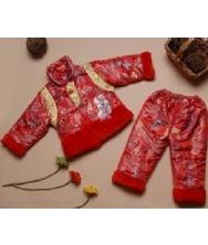 巧之韵 儿童唐装小凤仙 红色 玫红色 女童宝宝唐装 两件套生日童装冬装 唐装礼服
