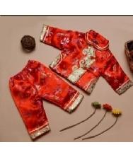 巧之韵 儿童唐装红色 女童宝宝唐装 两件套生日童装冬装 唐装礼服