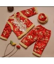 巧之韵 儿童唐装 地主少爷三件套红色唐装 新款中国特色儿童唐装秋冬季套装 男孩长袖少爷棉服棉衣