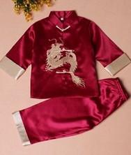巧之韵 绣龙儿童唐装套装枣红 男童宝宝唐装中式礼服生日装演出服  民族风中式男童宝宝唐装