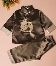 巧之韵 绣龙儿童唐装套装军绿色 男童宝宝唐装中式礼服生日装演出服 民族风中式男童宝宝唐装