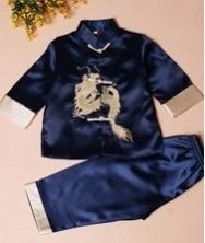 巧之韵 绣龙儿童唐装套装深蓝色 男童宝宝唐装中式礼服生日装演出服 民族风中式男童宝宝唐装