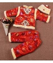 巧之韵 儿童唐装三件套红色 新款中国特色儿童唐装秋冬季套装男孩长袖少爷棉服棉衣