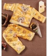 巧之韵 儿童唐装三件套金黄色 新款中国特色儿童唐装秋冬季套装男孩长袖少爷棉服棉衣