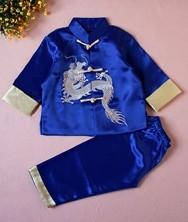 巧之韵 绣龙儿童唐装套装宝蓝色 民族风中式男童宝宝唐装男童宝宝唐装中式礼服生日装演出服