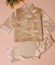 巧之韵 绣龙儿童唐装套装米黄 男童宝宝唐装中式礼服生日装演出服 民族风中式男童宝宝唐装
