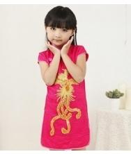巧之韵 儿童凤凰旗袍 玫红 中式古典女孩唐装儿童旗袍 短袖袖绣花小礼服裙