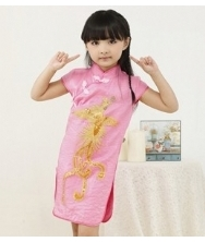 巧之韵 儿童凤凰旗袍 粉红 短袖袖绣花小礼服裙 中式古典女孩唐装儿童旗袍