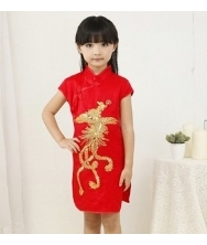巧之韵 大红儿童凤凰旗袍 短袖袖绣花小礼服裙 中式古典女孩唐装儿童旗袍