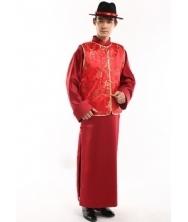 巧之韵 红福��  男士传统长袍马褂  中式唐装长衫结婚新郎装喜服  男士结婚礼服新郎唐装中式结婚礼服