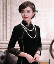 巧之韵 《撕夜》中式新古典真丝绒传统影视时尚高端长旗袍 时尚优雅长款改良丝绒旗袍