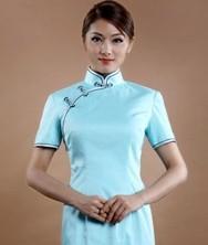 巧之韵 蔻兰 棉麻新古典传统短款旗袍 浅蓝色棉布旗袍 日常旗袍