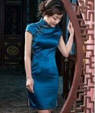 巧之韵 罗素 中式新古典重磅真丝旗袍 复古全开襟旗袍