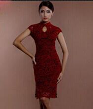 巧之韵 烈焰红唇时尚蕾丝旗袍 无缝改良高档蕾丝旗袍