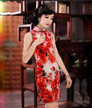 巧之韵 那时花开 新款无袖改良时尚真丝旗袍 中式古典真丝时尚花色夏装旗袍