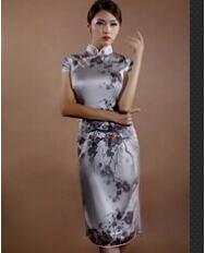 巧之韵 鹊喜.中式旗袍 新古典真丝弹力缎传统时尚短袖旗袍
