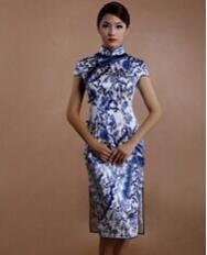 巧之韵 素素青花 中式新古典真丝民国时尚旗袍 宽边复古改良丝绸旗袍