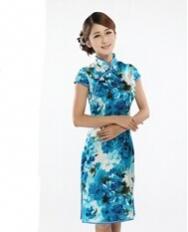 名流 木槿之恋 短款真丝旗袍裙  复古改良女士旗袍 中国风女装