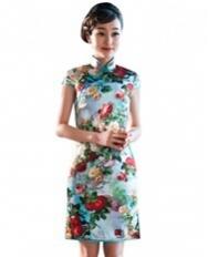 名流旗袍 玫瑰之恋 高端真丝旗袍 桑蚕丝复古双层短旗袍裙