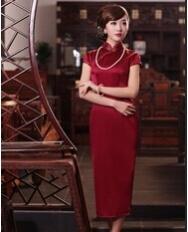巧之韵 红袭衣.中式新古典时尚旗袍 长款短袖重磅真丝旗袍