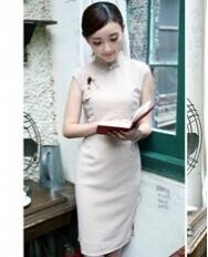 名流旗袍 卡其色 复古新款旗袍裙夏装旗袍裙改良日常时尚修身