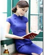 名流旗袍 复古素色立领旗袍裙 中国风女装新款改良旗袍 民族风蓝色