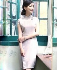 名流旗袍 复古素色立领旗袍裙 中国风女装新款改良旗袍 民族风灰色