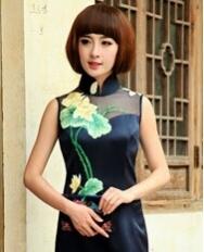 名流旗袍 时尚复古蕾丝绣花旗袍 重磅真丝改良长款旗袍