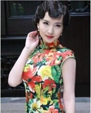 名流旗袍 巧之韵明星同款旗袍 真丝长款旗袍 精美手工盘扣 高端定制重磅真丝旗袍 中式礼服