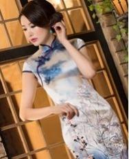 名流旗袍 浅花枝  高档重磅真丝旗袍连衣裙 复古改良时尚旗袍