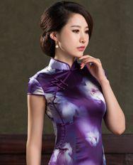 名流旗袍 紫荷艳 新款长款高开叉真丝旗袍 紫色高贵复古日常旗袍