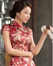 名流旗袍 红宴 优雅碎花长旗袍 数码喷绘重磅真丝气质修身旗袍