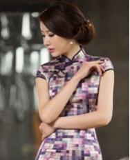 名流旗袍 艺彩 真丝复古格子旗袍 时尚文艺气质修身真丝短款旗袍裙