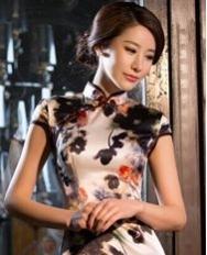 名流旗袍 画水墨高档桑蚕丝时尚改良气质修身短款女旗袍裙