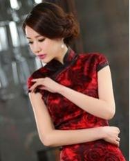 名流旗袍 玫瑰香影 红玫瑰高档真丝旗袍复古短款修身传统斜襟旗袍