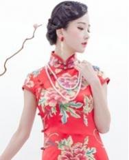 巧之韵 花想容 红 新中式中长款旗袍 高雅旗袍 手工旗袍