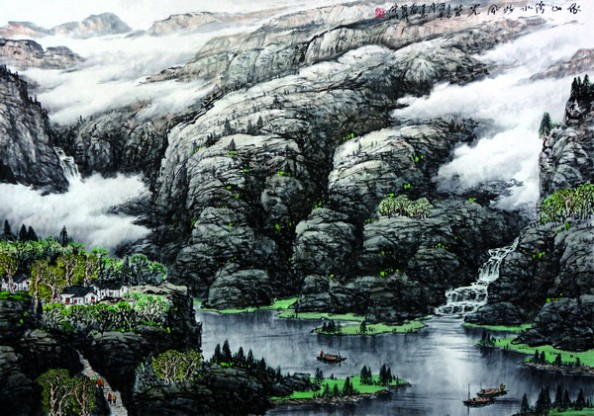 丁万春山水画