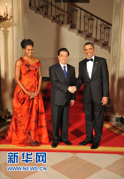 President Hu Jintao of China was honored Wednesday night with a state dinner at the White House given by President Obama and his wife, Michelle.