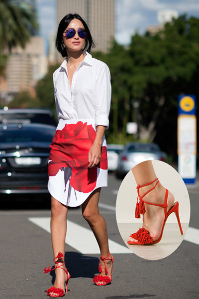 服装时尚搭配技巧 流行色彩搭配高跟红鞋子